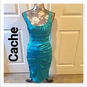 Cache Teal Ruched Cocktail Dress